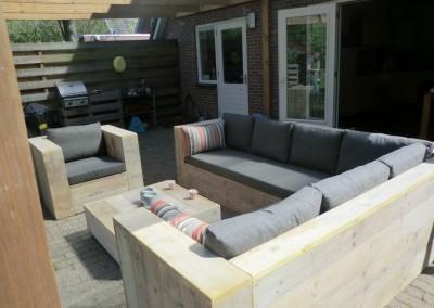 Lounge set met plofkussens. Stof Sunbrella Dark -Taupe